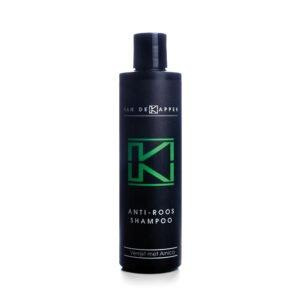 Flesje met 250 ml Van deKapper anti-roos shampoo verrijkt met arnica.