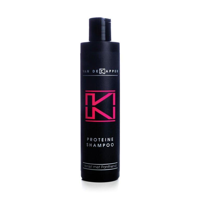 Flesje met 250 ml Van deKapper proteine shampoo verrijkt met panthenol.